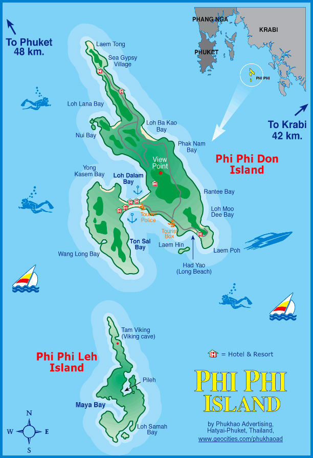 Phi-Phi-Island-Map
